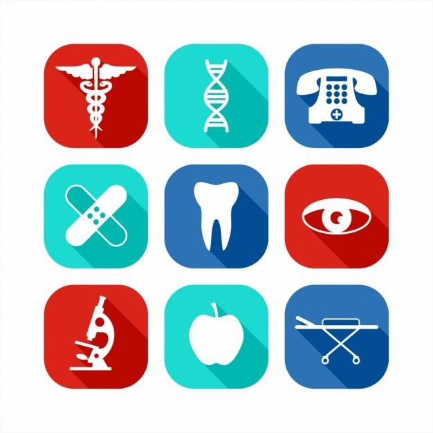 Icone mediche impostate Vettore gratuito