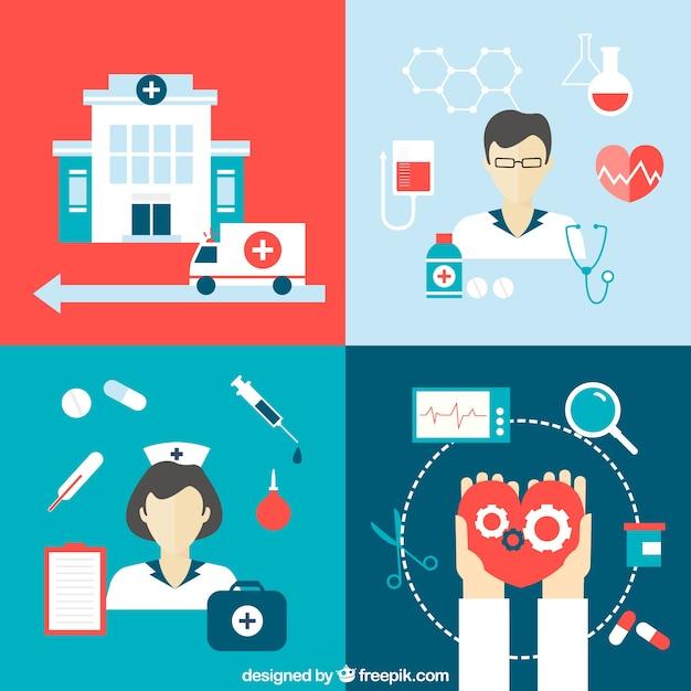 Icone mediche Vettore gratuito