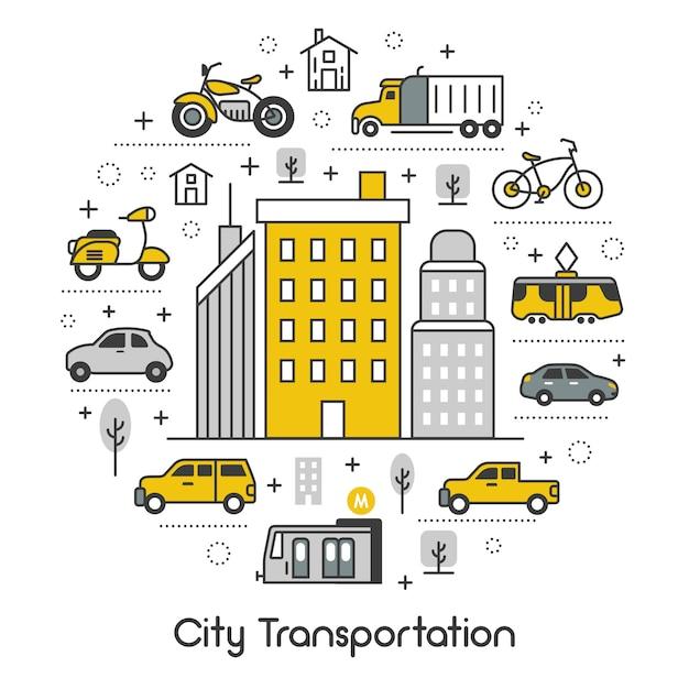 Icone messe con il tram e il taxi Vettore Premium