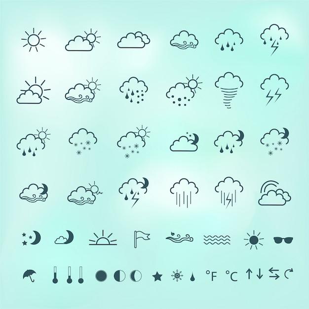 Icone meteo Vettore gratuito