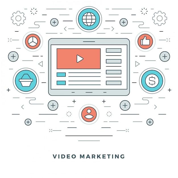 Icone moderne di sottile linea di e-learning o video marketing. Vettore Premium
