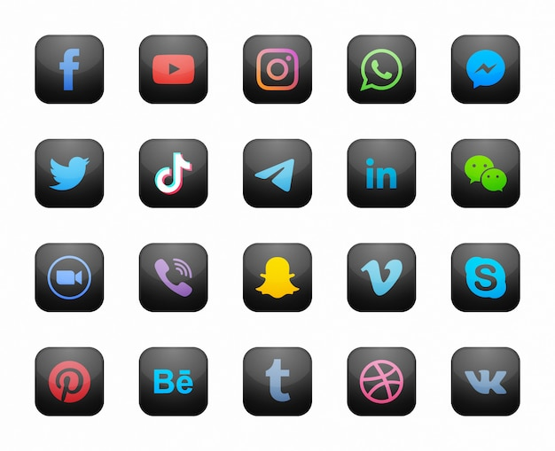 Icone moderne nere quadrate sociali di media messe Vettore Premium