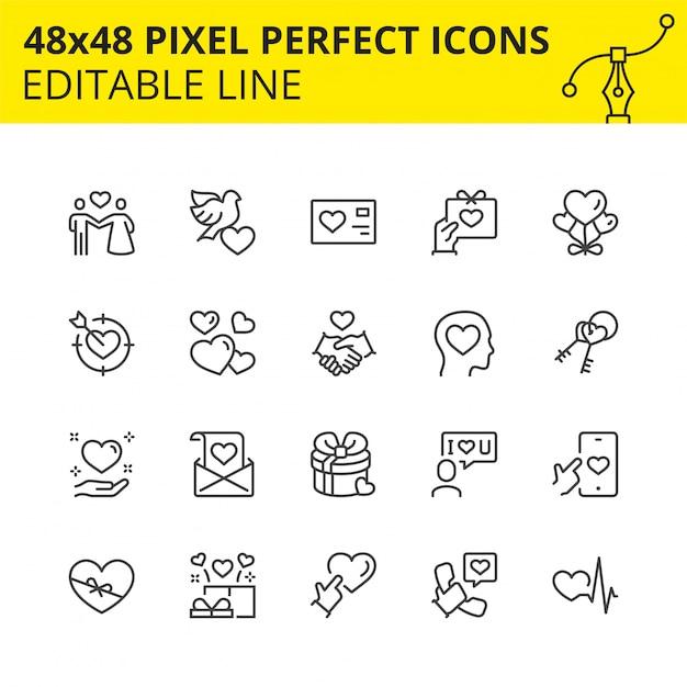 Icone modificabili di san valentino Vettore Premium