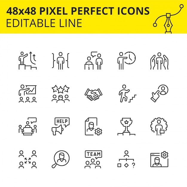 Icone modificabili per processi aziendali e lavoro di gruppo Vettore Premium