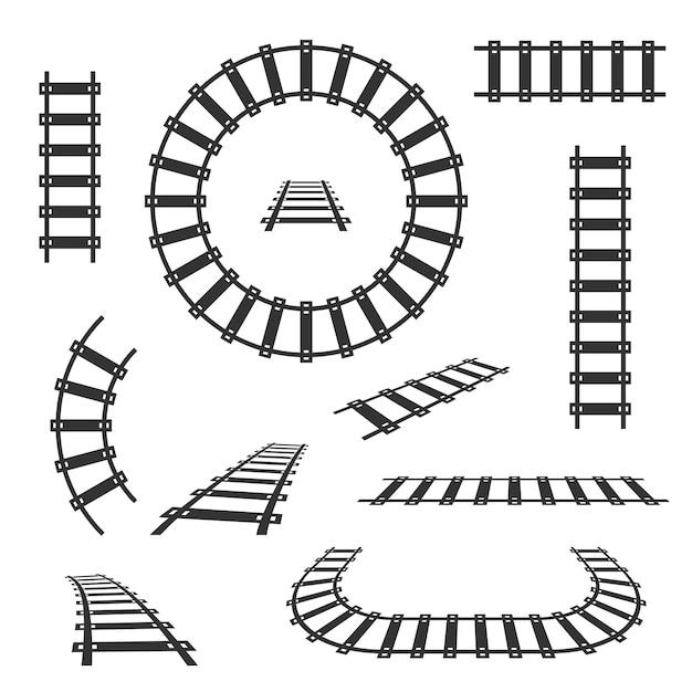 Icone nere dei binari ferroviari diritti e curvi Vettore Premium