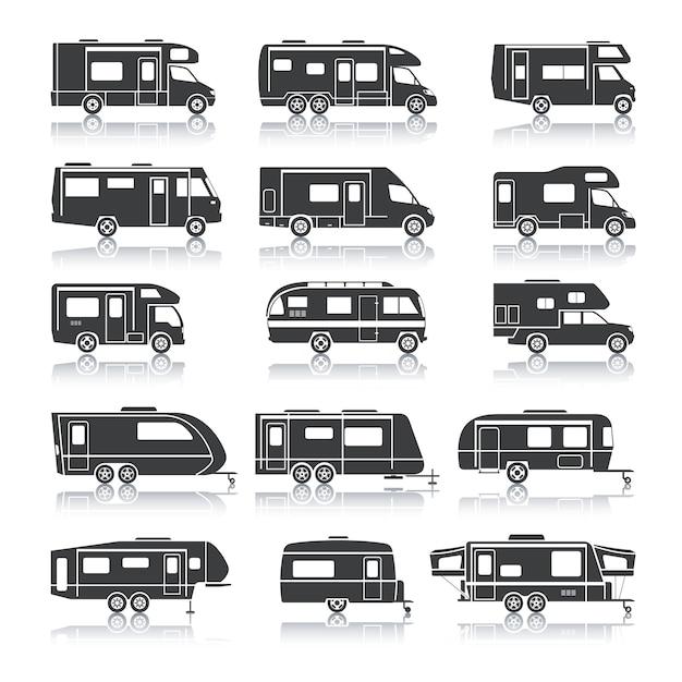Icone nere del veicolo ricreativo Vettore Premium