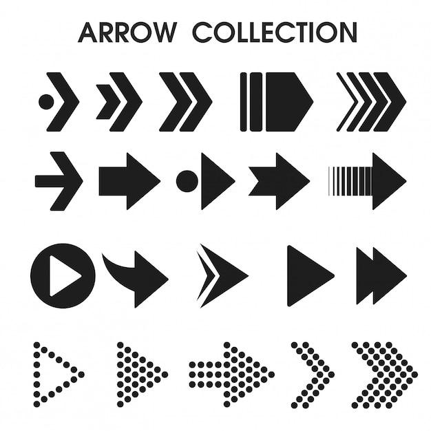 Icone nere della freccia che sembrano semplici e moderne. Vettore Premium