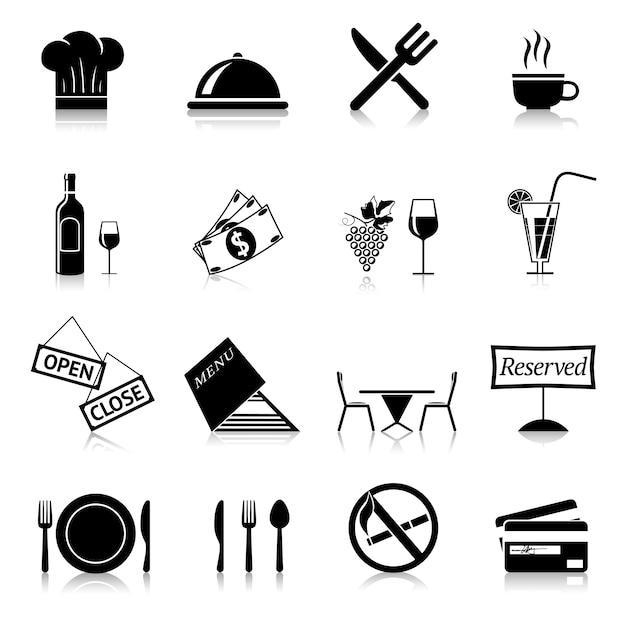 Icone nere ristorante Vettore gratuito