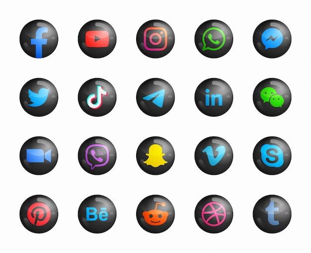 Icone nere rotonde moderne 3d di media sociali Vettore Premium