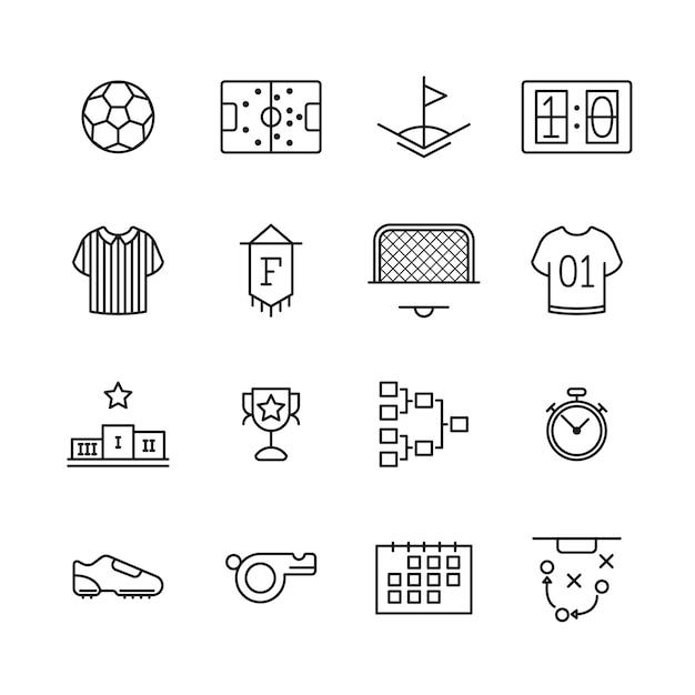 Icone per il tema dello sport su bianco Vettore Premium