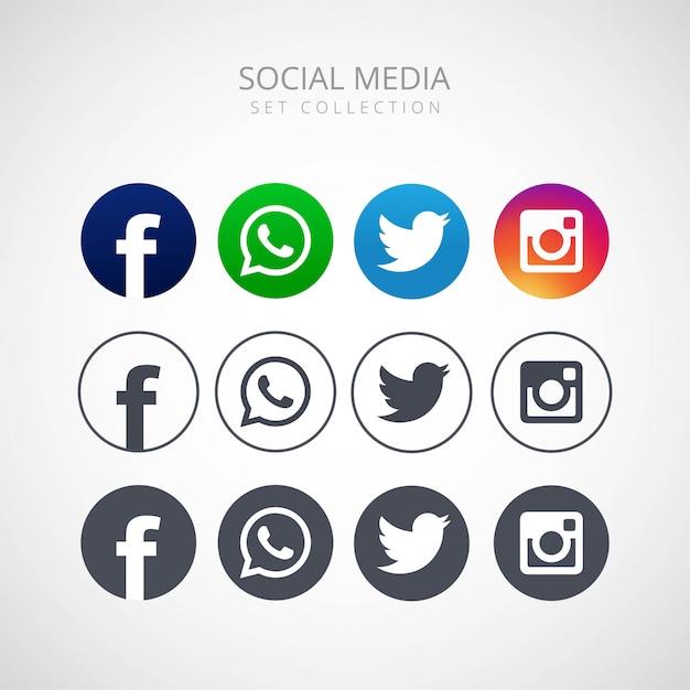 Icone per progettazione dell'illustrazione di vettore della rete sociale Vettore gratuito