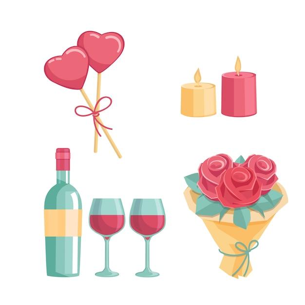 Icone per una cena romantica Vettore Premium