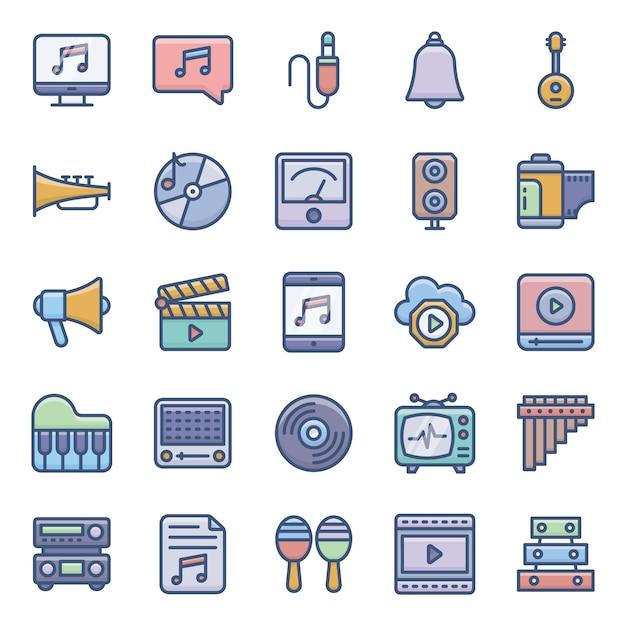 Icone piane audio di riserva messe Vettore Premium
