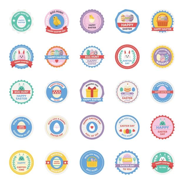 Icone piane dei distintivi di giorno di pasqua messe Vettore Premium