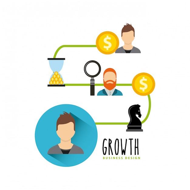 Icone piane dei fondi di crescita aziendale Vettore Premium