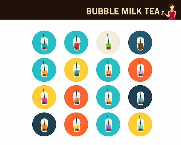 Icone piane del concetto del tè del latte della bolla Vettore Premium
