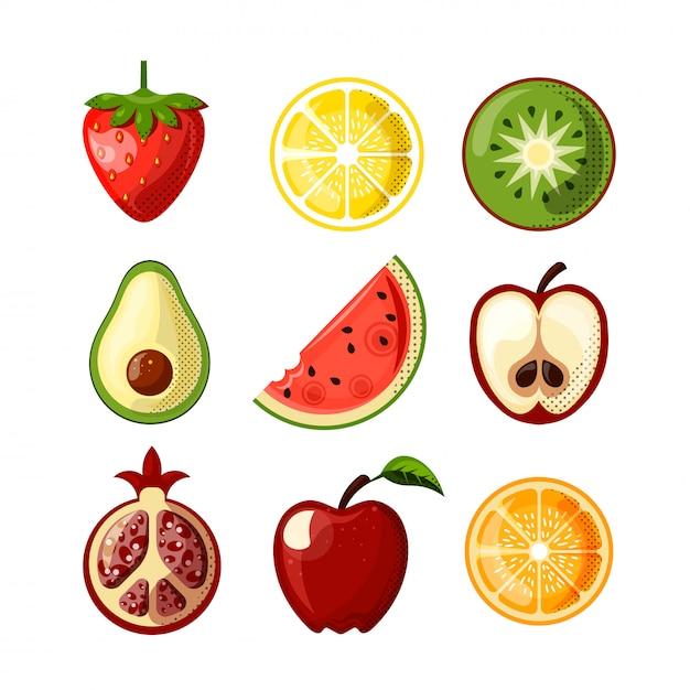 Icone piane della frutta succosa fresca isolate su fondo bianco. fragola, limone, qiwi, anguria e altri frutti in un'unica raccolta. set di icone piatte di cibo sano - frutta. Vettore Premium