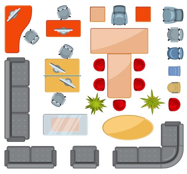 Icone piane delle icone interne della mobilia di vista superiore Vettore Premium