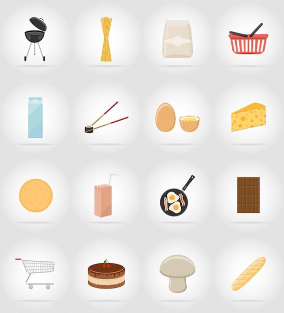 Icone piane di cibo e oggetti. Vettore Premium