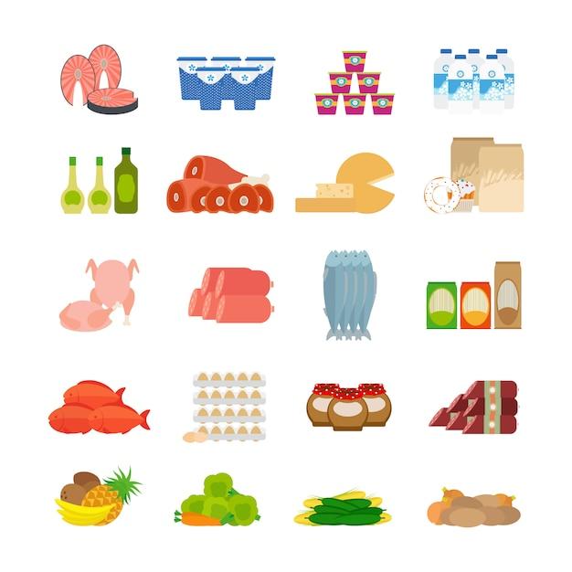 Icone piane di cibo supermercato Vettore Premium