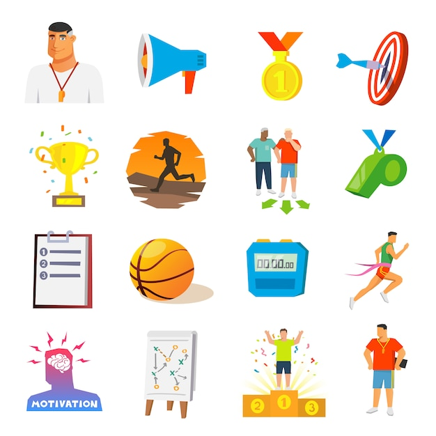 Icone piane di coaching and sport Vettore gratuito
