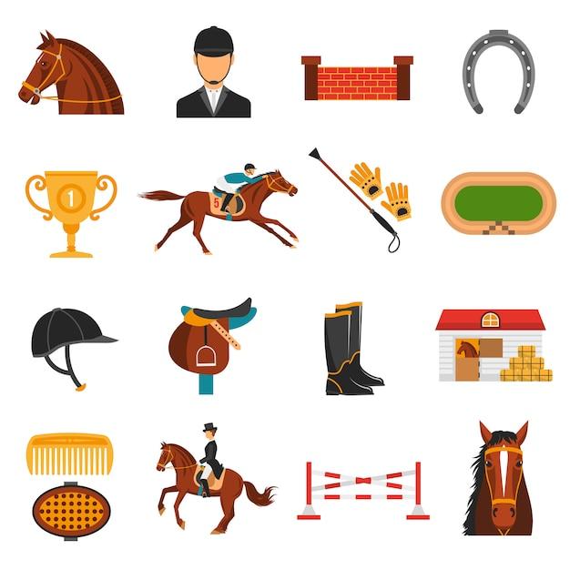 Icone piane di colore messe con l'attrezzatura del cavallo Vettore gratuito
