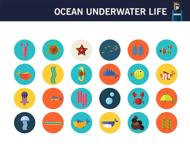 Icone piane di concetto di vita sottomarina dell'oceano. Vettore Premium