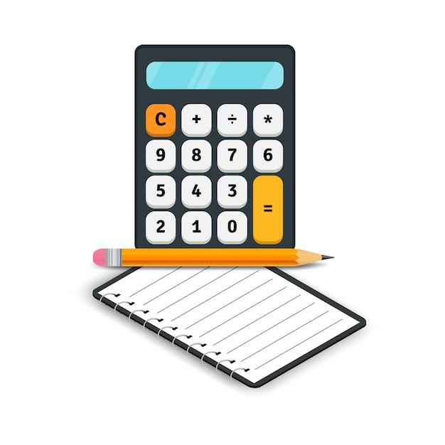 Icone piane di contabilità. calcolatore con il taccuino e matita isolata su fondo bianco. illustrazione vettoriale Vettore Premium
