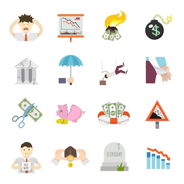 Icone piane di crisi economica Vettore gratuito