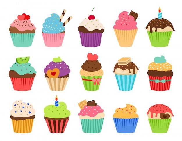 Icone piane di cupcakes. raccolta deliziosa di vettore del muffin di nozze e del bigné di compleanno isolata Vettore Premium