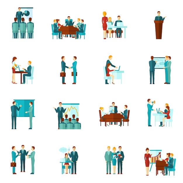 Icone piane di formazione aziendale Vettore gratuito