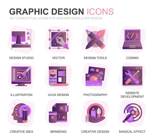 Icone piane di gradiente di progettazione e di web design moderno Vettore Premium