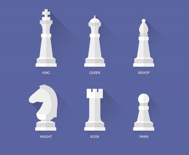 Icone piane di pezzi degli scacchi Vettore Premium