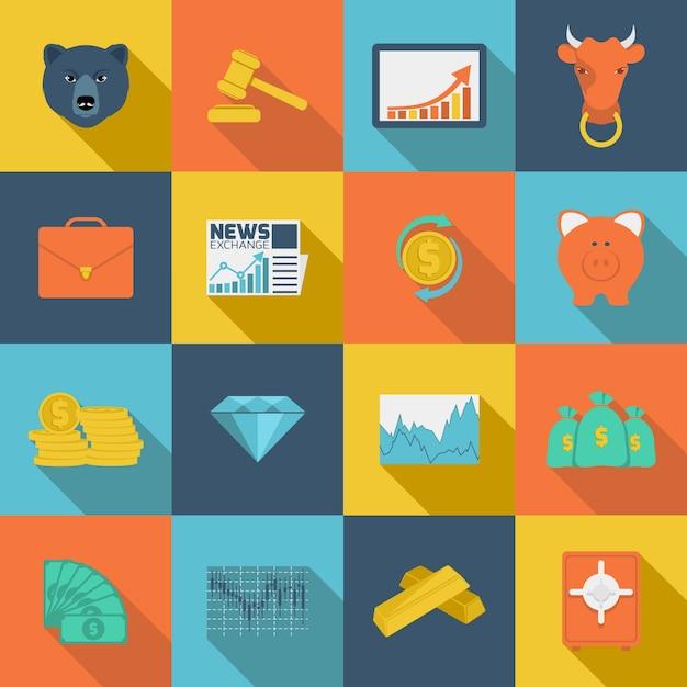 Icone piane di scambio di finanze Vettore gratuito
