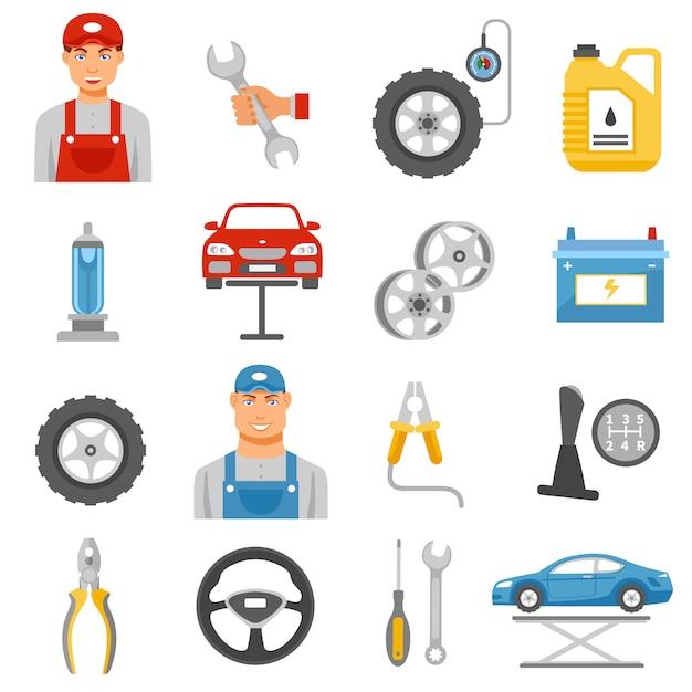 Icone piane di servizio di riparazione dell'automobile messe Vettore gratuito