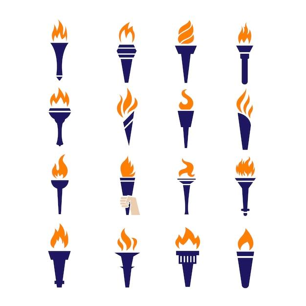 Icone piane di vettore della fiamma di campionato di vittoria della torcia del fuoco Vettore Premium