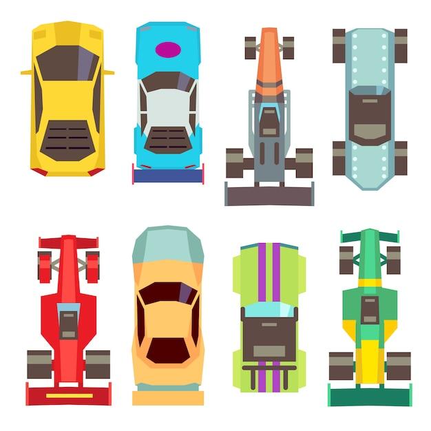 Icone piane di vista superiore delle macchine da corsa di sport. trasporto veloce per l'illustrazione della competizione Vettore Premium