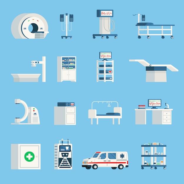 Icone piane ortogonali dell'attrezzatura dell'ospedale Vettore gratuito