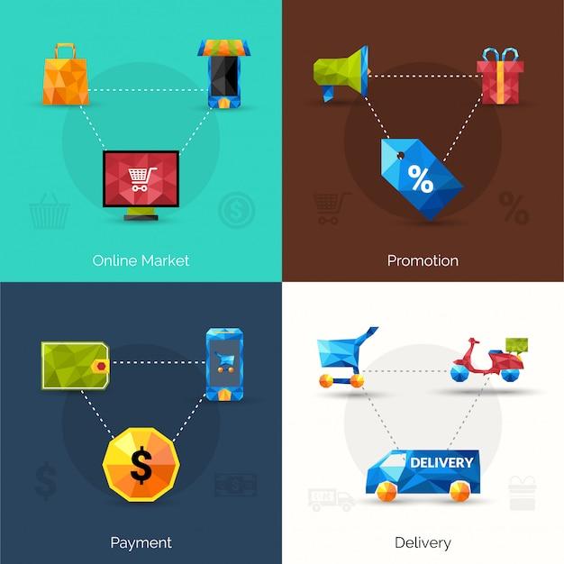 Icone poligonali di e-commerce Vettore gratuito