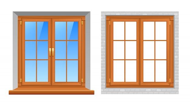 Icone realistiche all'aperto dell'interno di windows di legno Vettore gratuito