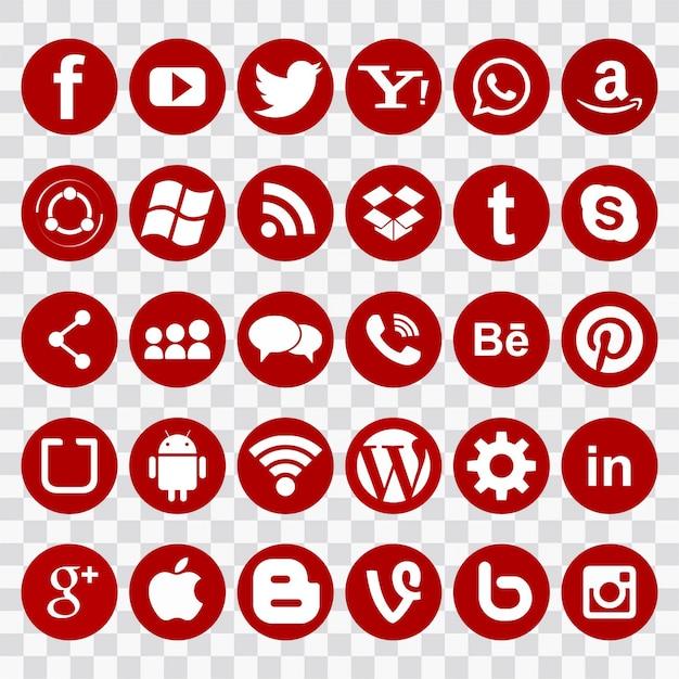 Icone rosse per le reti sociali Vettore gratuito