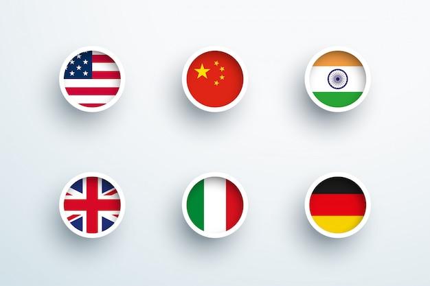 Icone rotonde del cerchio del bottone 3d delle bandiere nazionali messe Vettore Premium