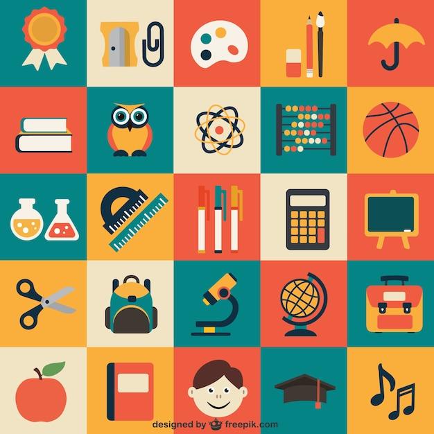 Icone school pack Vettore gratuito