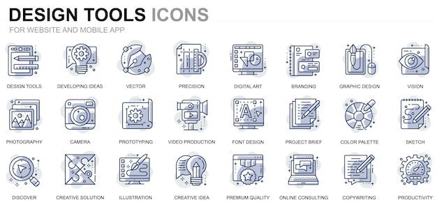 Icone semplici della linea degli strumenti di progettazione stabilita per le applicazioni web e mobili Vettore Premium