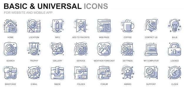 Icone semplici di linea di base per app per siti web e dispositivi mobili Vettore Premium