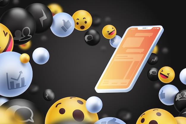 Icone social media con lo sfondo del telefono Vettore gratuito