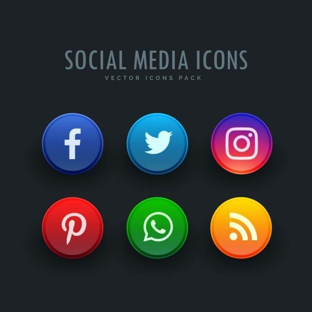 Icone social media pacchetto in stile pulsante Vettore gratuito