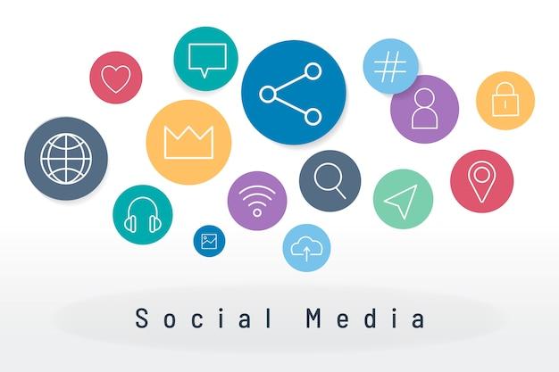 Icone social media Vettore gratuito