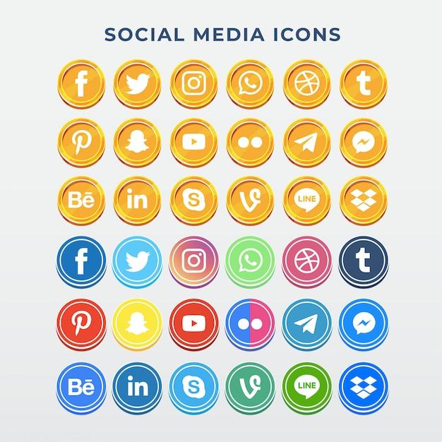 Icone social media Vettore Premium