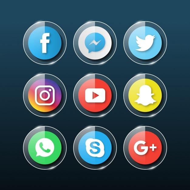 Icone sociali di media di vetro Vettore gratuito